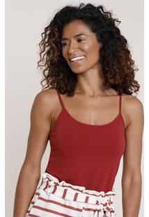 Regata Feminina Básica Alça Fina Decote Redondo Vermelha Escuro