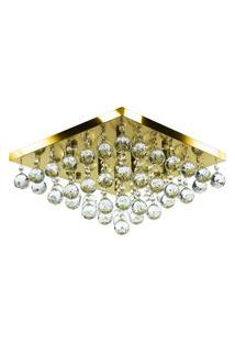 Lustre De Cristal Legitimo Classic Square 40X40 Dourado Gold