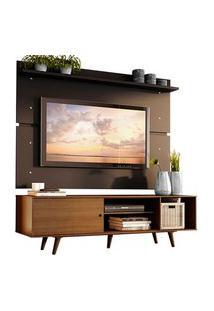 Rack Madesa Dubai E Painel Para Tv Até 65 Polegadas Com Pés Rustic/Preto 5Zd8 Preto