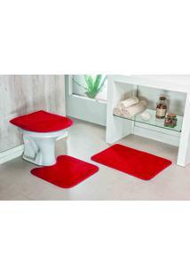 Jogo De Tapete De Banheiro 3 Peças Liso - Vermelho