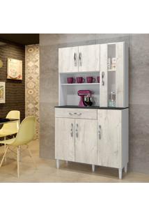 Armário De Cozinha Milão Nevada 06 Portas 01 Com Vidro 01 Gaveta - Arte Móveis