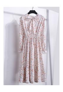 Vestido Madrid Vintage - Branco Com Flores