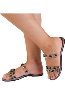 Sandália Rasteira Mercedita Shoes Cristal Chumbo