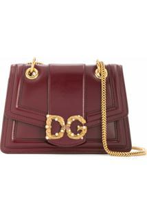 Dolce & Gabbana Bolsa Tiracolo Com Esferas Peroladas E Placa De Logo - Vermelho
