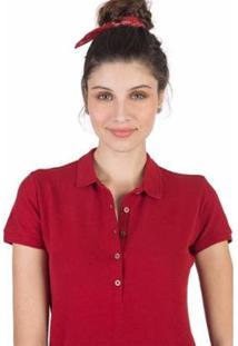 Camisa Polo Básica Taco Feminina - Feminino-Vermelho