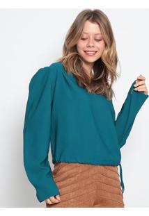 Blusa Lisa Com Amarraã§Ã£O - Azul Petrã³Leo - Chocoleitchocoleite