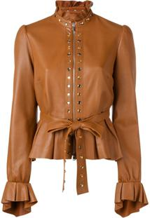 Just Cavalli Peplum Leather Jacket - Marrom