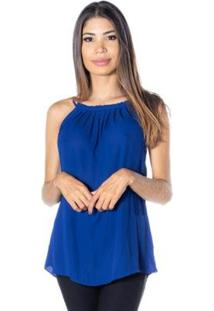 Blusa Dwz Gola High Neck Decote Franzido Feminina - Feminino-Azul