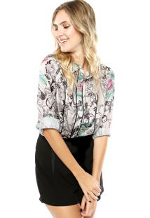 Camisa Lança Perfume Flores Multicolorido