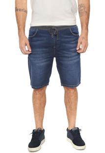 Bermuda Jeans Timberland Reta Amarração Azul