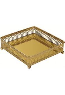 Bandeja Mart De Metal Com Espelho Dourada Jack Pequeno 7153