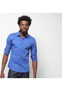 Camisa Ellus Lisa Manga Longa Masculina - Masculino-Azul Royal