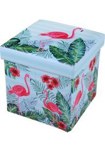 Puff Baú Infantil 30Cm X 30Cm Resistente Com Tampa Flamingo - Bene Casa