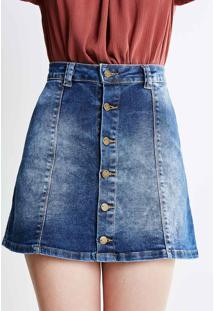 Saia Em Jeans Com Botões
