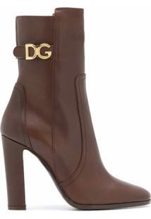 Dolce & Gabbana Bota Cano Longo Com Placa De Logo E Salto 110Mm - Marrom