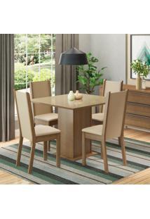 Conjunto De Mesa Com 4 Cadeiras De Jantar Anis Linho Rústico Pérola