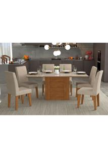 Conjunto De Mesa De Jantar Retangular Rafaela Com 6 Cadeiras Milena Suede Bege E Off White