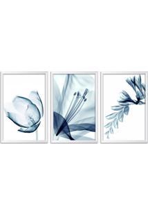 Quadro Oppen House 60X120Cm Flores Abstrato Transparentes Moldura Branca Estilo Raio-X Decorativo Interiores Mod:Oh0017