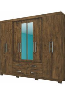 Guarda Roupa Casal San Lorenzo 8 Portas E Espelho Castanho Wood - Moval