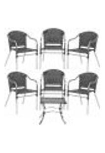 Jogo Cadeiras 6Un E Mesa De Centro Floripa Para Edicula Jardim Area Varanda Descanso - Preto