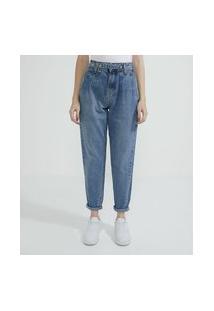 Calça Mom Em Jeans Com Pregas E Botão De Pressão Transpassado   Blue Steel   Azul   40