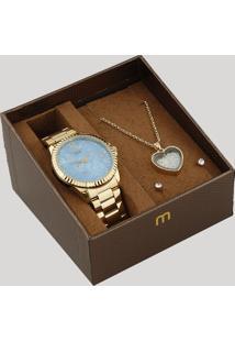 Kit De Relógio Analógico Mondaine Feminino + Colar + Brinco - 99128Lpmkde3K2 Dourado - Único