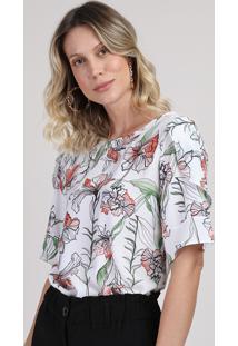Blusa Feminina Com Estampa Floral Decote Redondo Manga Curta Off White
