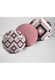Kit 3 Almofadas Redondas Elementos Abstratos