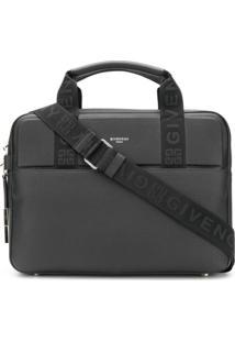 Givenchy Bolsa Para Notebook De Couro Com Logo - Preto