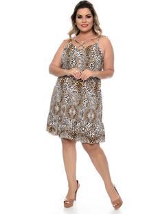 Vestido Domenica Solazzo Leopardo Plus Size