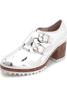 Ankle Boot Flatform Moleca Metalizada Fivelas Prata