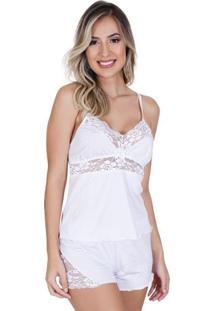 Pijama Short Doll Com Renda Feminino Adulto Em Liganete