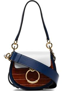 Chloé Tess Leather Shoulder Bag - Azul