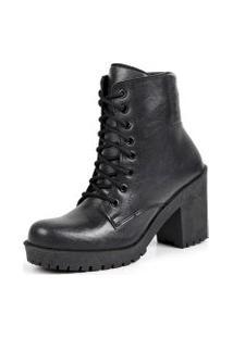 Ankle Boot Tratorado Cadarço Dhl Calçados Feminino Preto Fosco