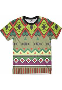 Camiseta Bsc Tribal Psicodélico Full Print Verde