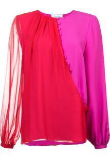 Prabal Gurung Blusa De Seda Color Block - Rosa