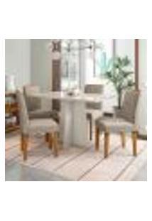 Conjunto De Mesa De Jantar Ana Com 4 Cadeiras Amanda Animalle Off White E Cinza