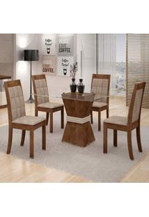 Conjunto De Mesa De Jantar Vitória Com 4 Cadeiras Rubi Veludo Chocolate E Off White