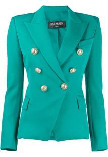 Balmain Button-Embellished Blazer - Verde