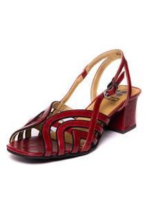 Sandalia Brigitte Vermelha Em Couro - Amora / Sued Preto 5396 Mzq