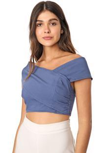 Blusa Cropped Calvin Klein Jeans Ombro A Ombro Azul