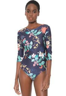 Body Graphene Floral Azul-Marinho
