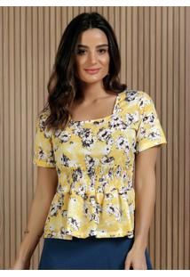 Blusa Floral Com Decote Quadrado Moda Evangélica