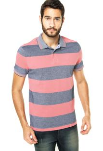 Camisa Polo Richards Listras Rosa