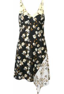 Off-White Floral Asymmetric Dress - Preto