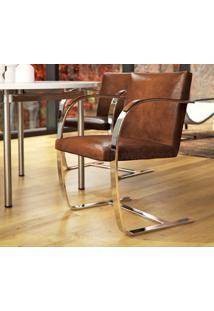 Cadeira Brno - Inox Couro Bege C
