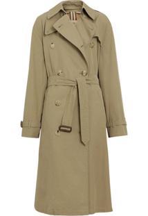 Burberry Trench Coat De Gabardine - Verde