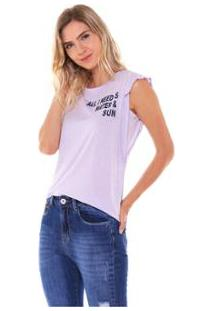 Camiseta Studio 21 Fashion Basic Babados Feminina - Feminino-Lilás