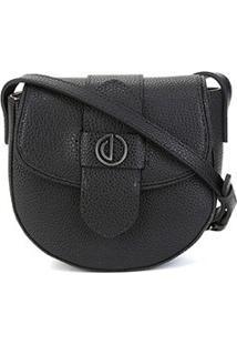 Bolsa Dumond Shoulder Bag Flap Arredondada Feminina - Feminino-Preto