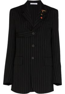Delada Blazer De Lã Com Abotoamento Simples E Risca De Giz - Preto